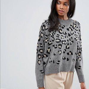 H. One Leopard Print Wool Blend Sweater
